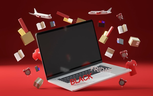 Concetto di venerdì nero con il computer portatile