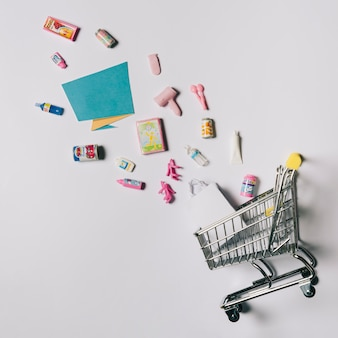 Black friday concept with products and cart