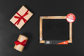 Black friday concept with slate and gift boxes