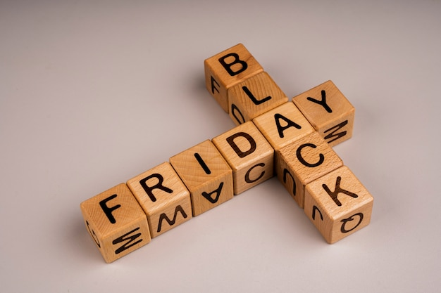 Black friday cubes on plain background