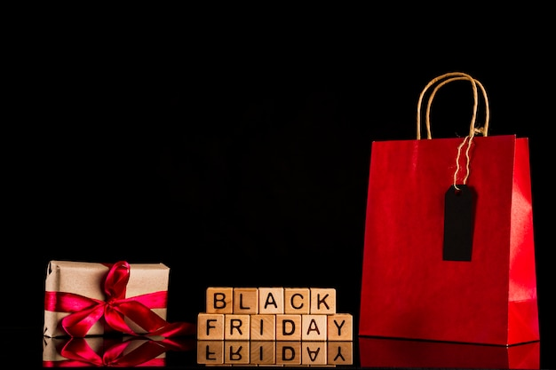 Black friday cubes with present and bag