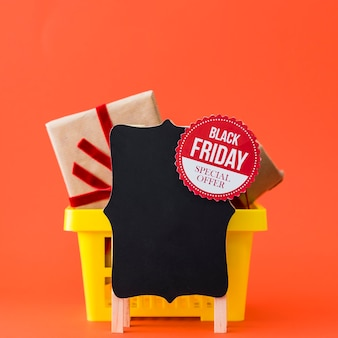 Black friday decoration with board and basket