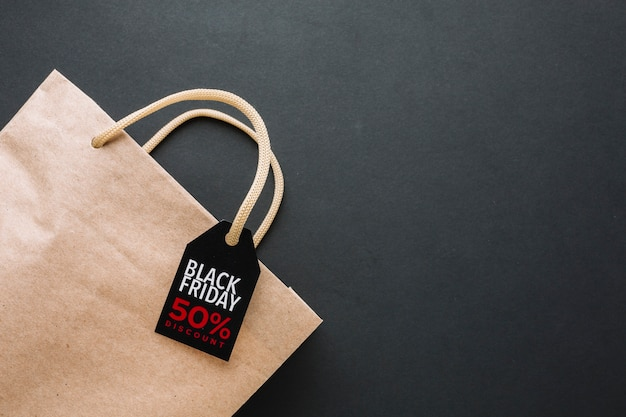 Black friday discount bag in flat lay