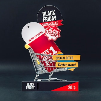Black friday discount composition with cart