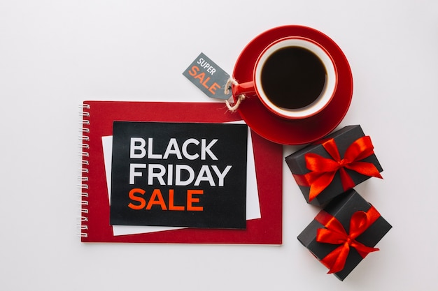 Black friday discount gifts in flat lay