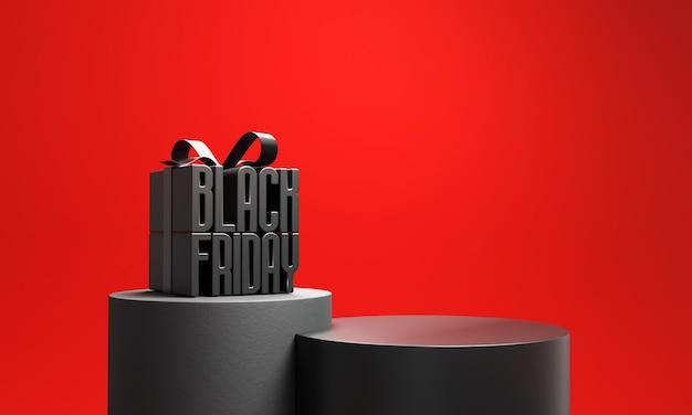 Black friday gift box with podium.