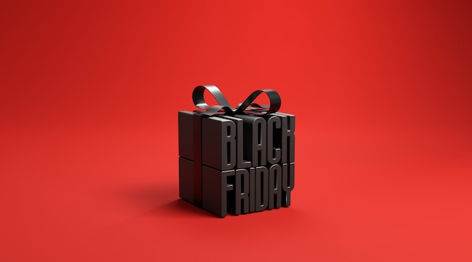 Black friday in gift box wrapped with black ribbon on red background.