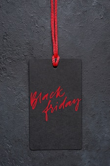 블랙 프라이데이-태그에 필기 비문