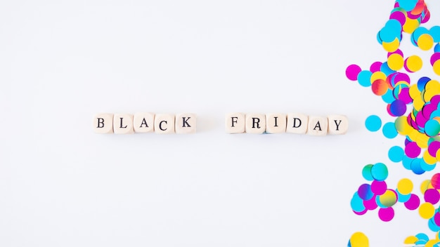 Black friday inscription on small cubes