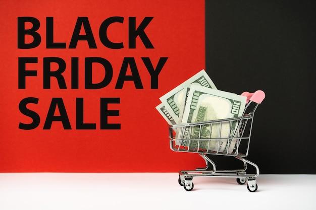 ブラックフライデーがやってくる!大幅割引特別セール。お金のカート。