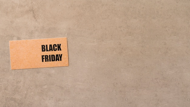 Black friday label on copy space mininalist background