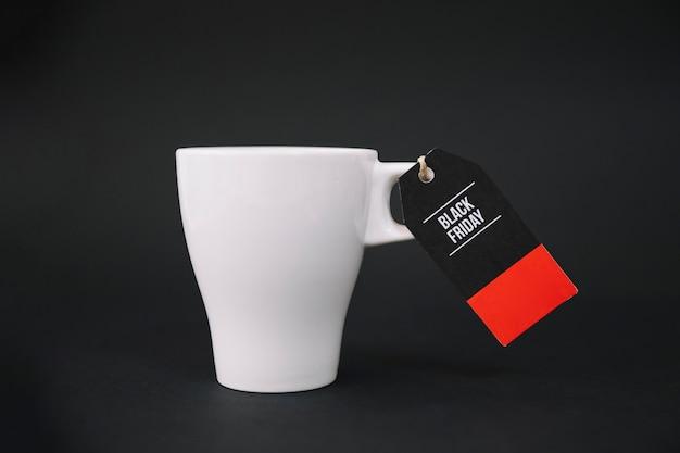 Black friday label on mug