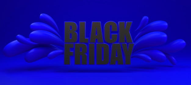 Black friday long blue and black banner.