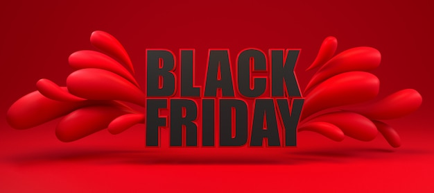 Black friday long red and black banner.