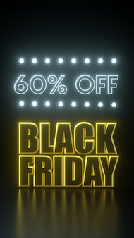 Black friday long tie yellow and black banner with neon lights. 3d rendering illustration advertisement template.