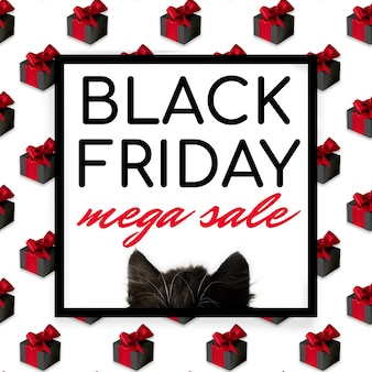 블랙 프라이데이 메가 세일 포스터 또는 전단지, 검은 귀, 고양이 머리, 흰색 바탕에 검은색 프레임과 글자가 있는 선물