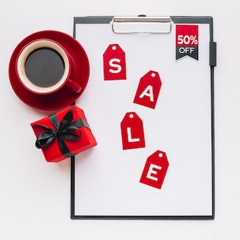 Black friday notepad with coffee and gift