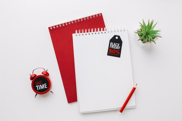 Black friday notepads mock-up with clock