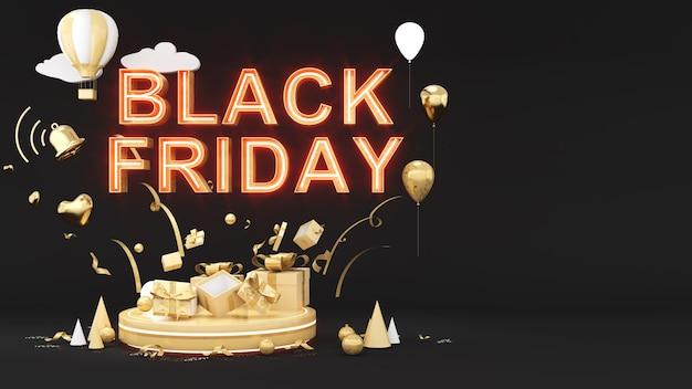 黒の背景にブラックフライデーとお祭りの黄金のギフトボックスのお祝い、3dレンダリング