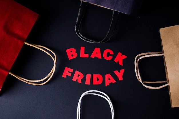 Black friday red letters top view