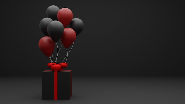 Black friday sale background with gift box and balloons.