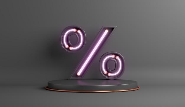 Black friday sale background with neon light percent symbol display podium