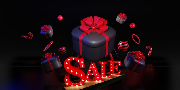 Black friday sale banner. gifts boxes with text lettering. new year and christmas background. 3d illustration