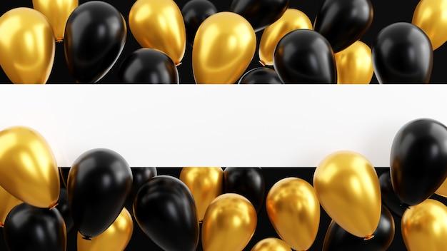ブラックフライデーセールコンセプト光沢のある金色の風船チラシ3dレンダリングイラスト