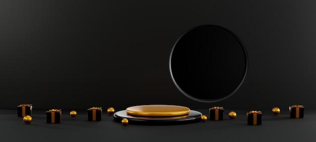 ブラックフライデーセール円筒形の表彰台ディスプレイとギフトボックスの3dレンダリングイラスト