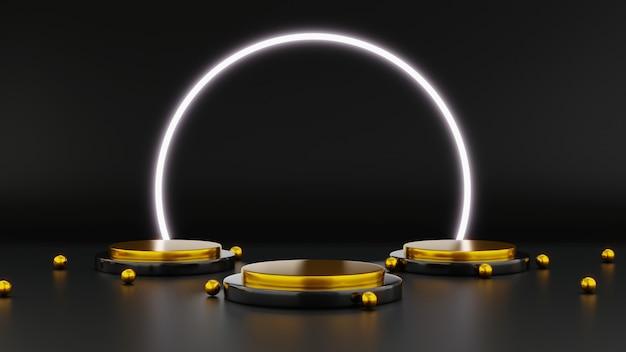 ブラックフライデーセールネオンライトディスプレイ付き円筒形表彰台3dレンダリングイラスト広告