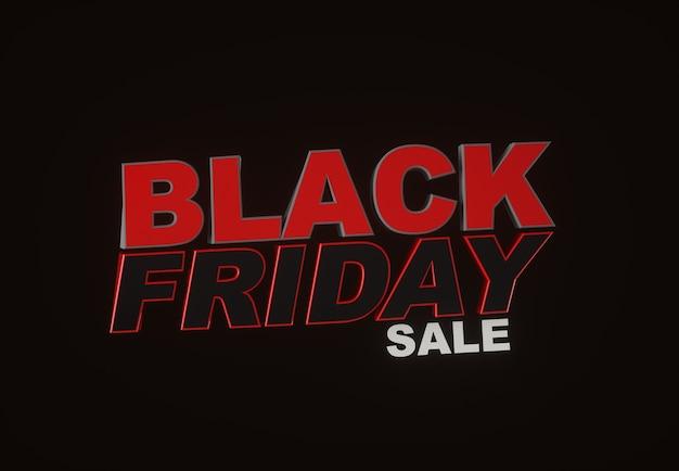 Black friday sale. dark background red text lettering. horizontal banner, poster, header website. 3d render.
