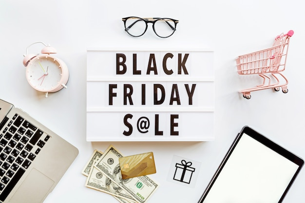 Black friday sale flat lay on white background