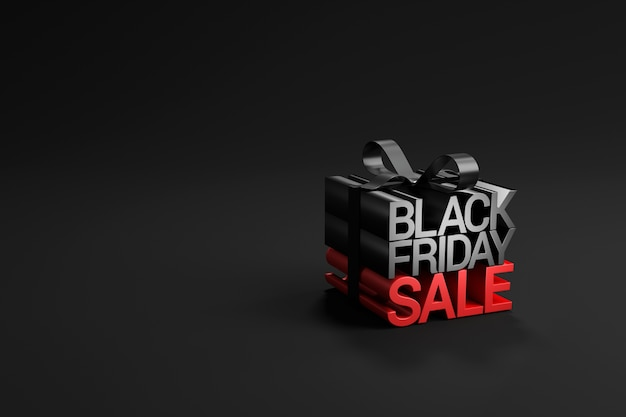 Black friday sale in gift box wrapped on black.