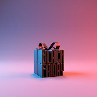 선물 상자에 검은 금요일 판매 보라색 바탕에 빨간 리본으로 포장.