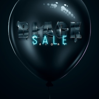 Black friday sale inscription on an abstract black background in a balloon in black - blue letters. banner or poster. sale and discount. 3d illustration, 3d rendering