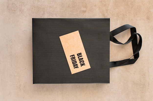 Black friday sale label on shopping bag