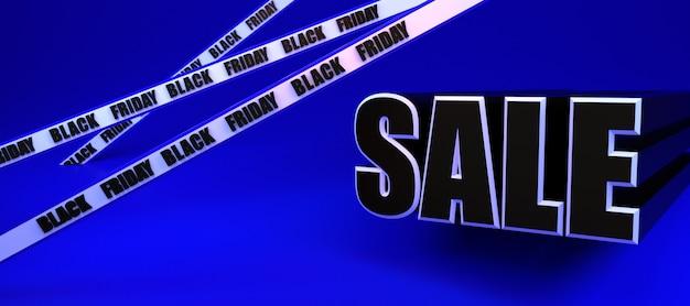 Black friday sale long blue banner. 3d rendering illustration advertisment template.