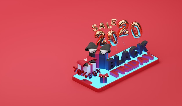 Black friday sale on mobile. 3d render
