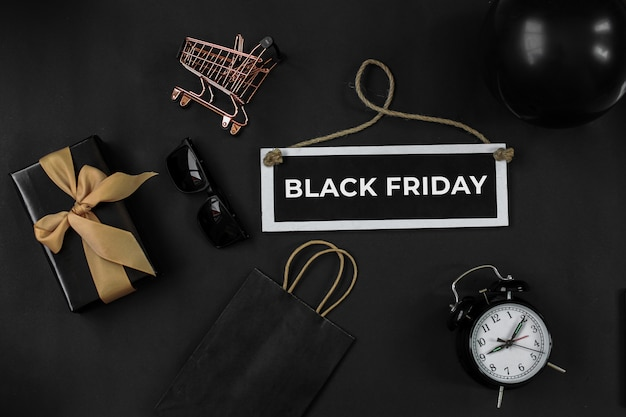 Black friday sale or online shopping promotion concept with various shopping accessories