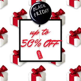Черная пятница продажа плакат или флаер, черный шар и подарки на белом фоне с черной рамкой.
