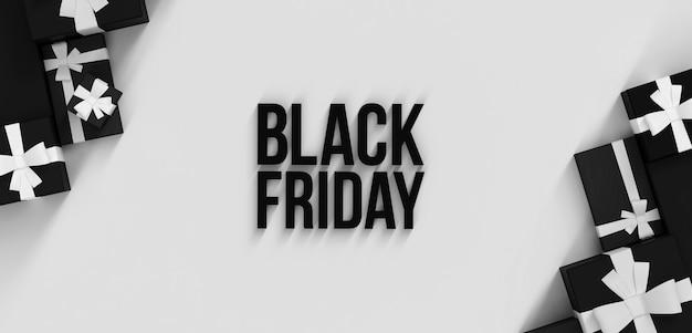 ブラックフライデーセールシーン3dレンダリングギフトボックスとテキストイラスト売り切れテンプレート