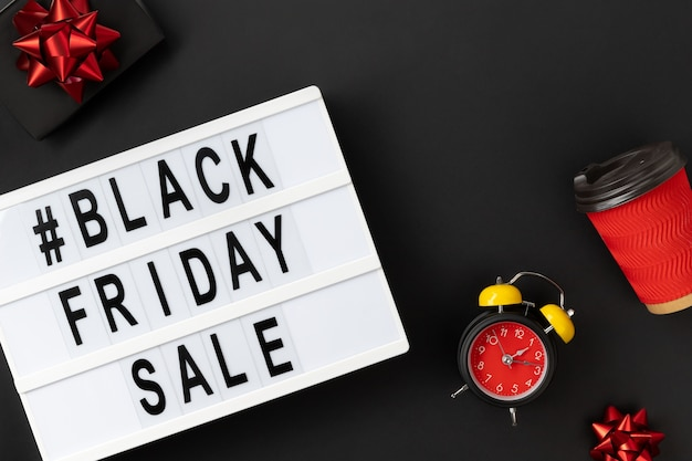 Black friday sale text on lightbox