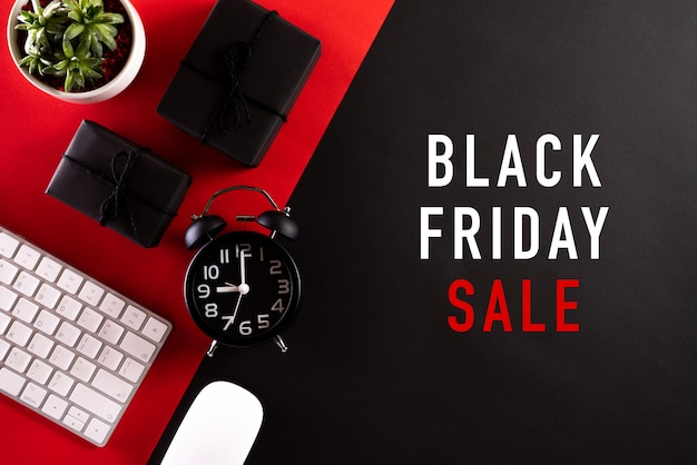 Black friday sale text on red and black .