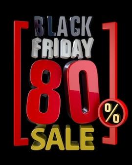 Black friday sale xx % sales word on black background illustration 3d rendering.
