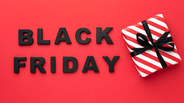 Black friday sales assortment on red background