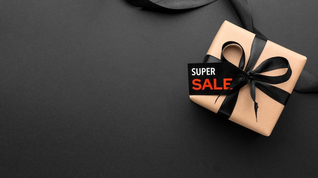 Black friday sales composition on black background with copy space