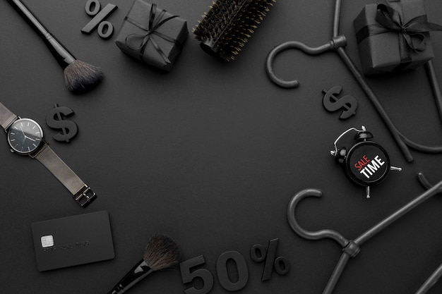 Black friday sales elements composition with copy space