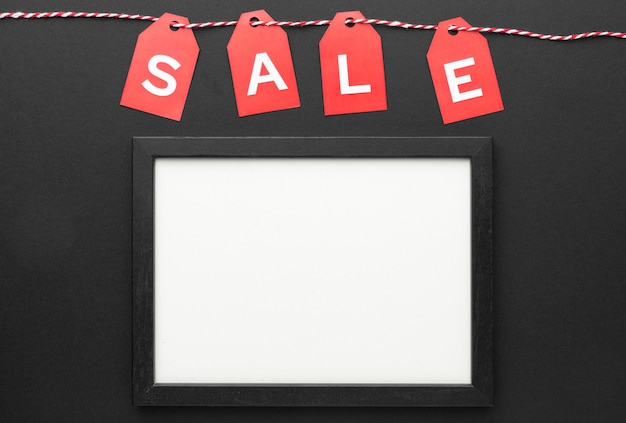 Black friday sales elements composition with empty frame