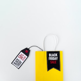 Black friday shopping bag with tag