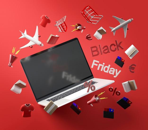 노트북으로 검은 금요일 쇼핑 할인